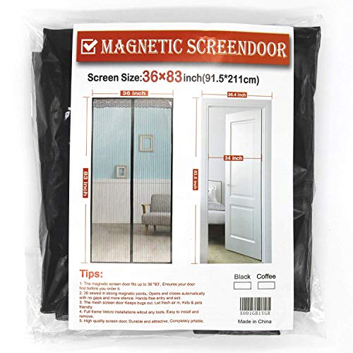 Fiber Screen Fit Doors Size up to Max with Full Frame Velcro Magic Screen Mosquito Mesh Keep Fly Bug Out(Gray, Good Light Transmission) (36x83) ()