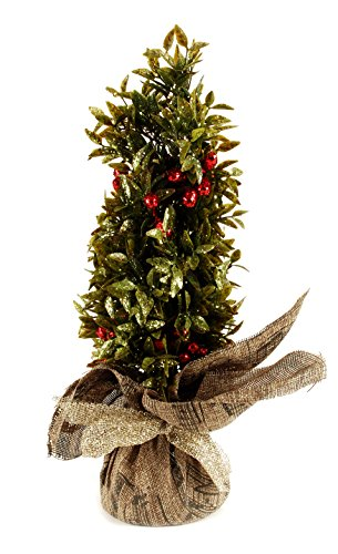 Blossom Bucket 168-72347 Pine Berry Tree In Burlap (Tree Bucket Artificial Christmas In)