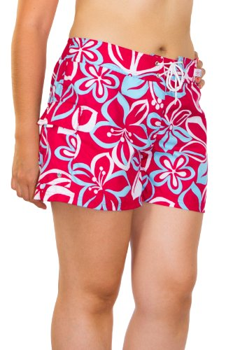 Kechika Women's Hula Delight (PCB) Poly Microfiber Full Cut Boardshort With Normal Waist 24 Cherry