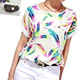 Lookatool Women's Feathers Chiffon Blouse Top Casual Short Sleeve Loose T-Shirt