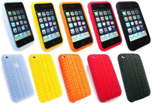 Emartbuy ® Apple Iphone 3G / 3Gs Bundle Von 5 Pattern Reifen Silicon Skin Tasche / Case - Hellblau, Orange, Gelb, Schwarz & Red