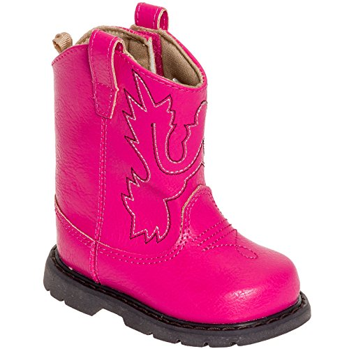 Baby Deer Girls Western Cowboy Boot Shoes (Fuchsia Pink, 7 M US Toddler) (Toddler Pink Cowboy Boots)