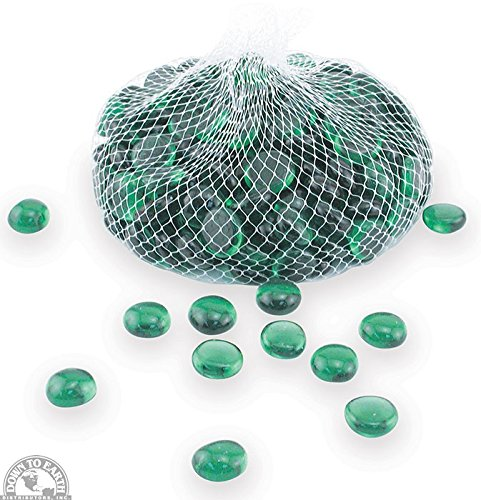 Down To Earth Forest Green Glass Gems - For Vase Fillers or Ponds, 2 lbs (Nugget Turquoise Green Stones Natural)
