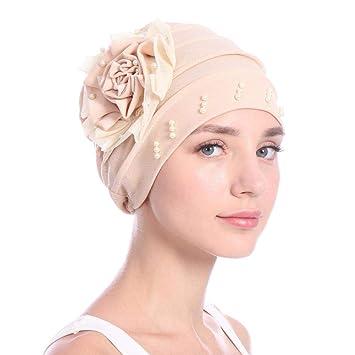 Pushally - Gorra de Turban, Elegante, para Mujer, de quimioterapia, de Turban, Turban, de Turban, de Turban, de quimioterapia 米色: Amazon.es: Hogar