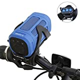 Clearon Portable Bluetooth 4.0 Speaker Wireless Waterproof Speaker with Bike Mount & Remote - Premium Sound Quality & Loud 8W Mini Speaker - 15 Hours of Playtime & 100 ft Range (Blue)