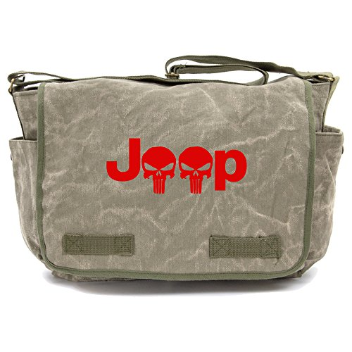 Red Skull Messenger Bag (Jeep Wrangler Punisher Skull Canvas Messenger Shoulder Bag in Stone Washed)