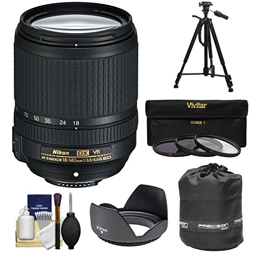 Nikon 18-140mm f/3.5-5.6G VR DX ED AF-S Nikkor-Zoom Lens + 3 Filters + Hood + Pouch + Tripod Kit for D3200, D3300, D5300, D5500, D7100, D7200 Camera