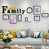 Home@Wall photo frame Modern Home Wood Photo Frame Sets Of 7 , Living Room Bedroom Sofa Background Hanging Paintings Aisle Corridor Photo Frame Combination ( Color : H , Size : 8frames/23386CM )