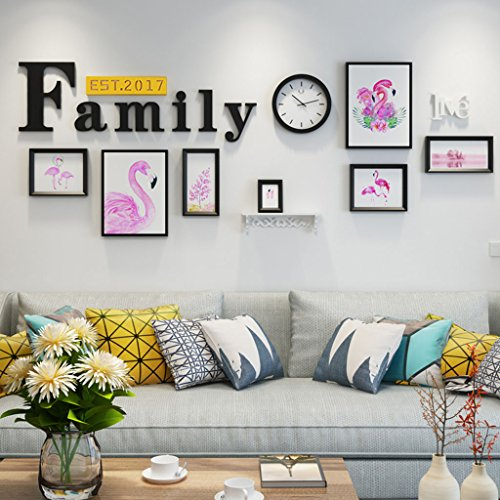 Home@Wall photo frame Modern Home Wood Photo Frame Sets Of 7 , Living Room Bedroom Sofa Background Hanging Paintings Aisle Corridor Photo Frame Combination ( Color : H , Size : 8frames/23386CM ) by ZGP