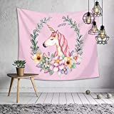 Unicorn Pink Tapestry Wall Hanging for Unicorn Party Supplies, Girls Birthday Party Theme Backgrounds, 60x50