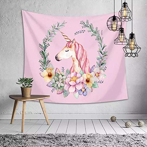 Unicorn Tapestry Pink Wall Hanging for Unicorn Party Supplies, Girls Birthday Party Theme Backgrounds, 60x50