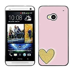 FECELL CITY // Duro Aluminio Pegatina PC Caso decorativo Funda Carcasa de Protección para HTC One M7 // Gold Love Pink Minimalist