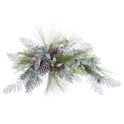 42'' Wide Mixed Pine, Birch & Pinecone Artificial Swag -White/Green (pack of 2)