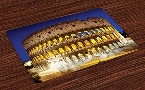 eum Place Mats Set of 4, Historic Imperial Roman Architecture European Culture Symbol, Washable Fabric Placemats for Dining Room Kitchen Table Decor, Royal Blue Yellow Brown (Imperial Blue Table Mat)