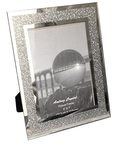 Amlong Crystal Sparkle Mirror Glass Picture Frames 5 x 7 (Christmas Picture Frames 5x7)