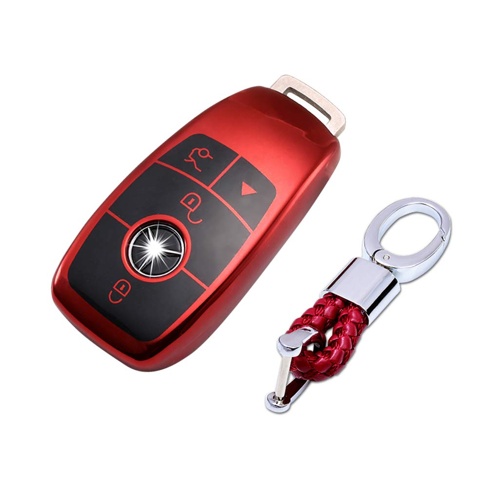 TurningMax Keyless Entry Remote Cases Smart Key Fob Cover with Keychain Full Protection Soft TPU Holder Shell for Mercedes Benz E Class, 2018 up S ...