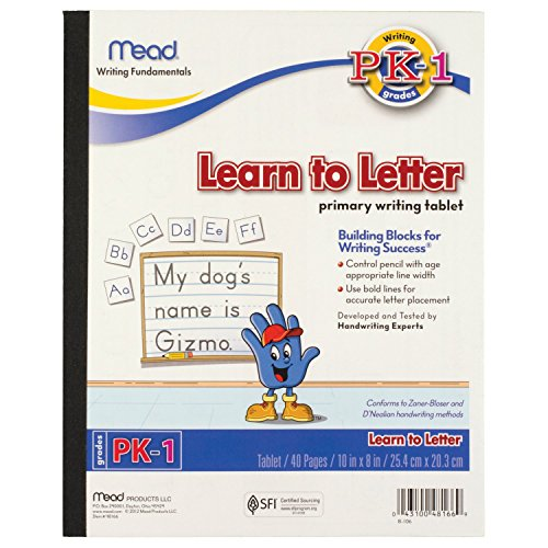 Mead Learn To Letter Tablet, Pre-K - 1st Grade Workbook, 8