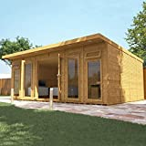 WALTONS EST. 1878 Garden Room Home Office - Wooden Traditional Design, Measures 6m x 4m, Pent Roof, Fully Insulated & Customisable - Includes 10 Year Guarantee, Double Glaze Safety Glass & Free Installation (6x4 / 6 x 4) Fast Delivery by Waltons