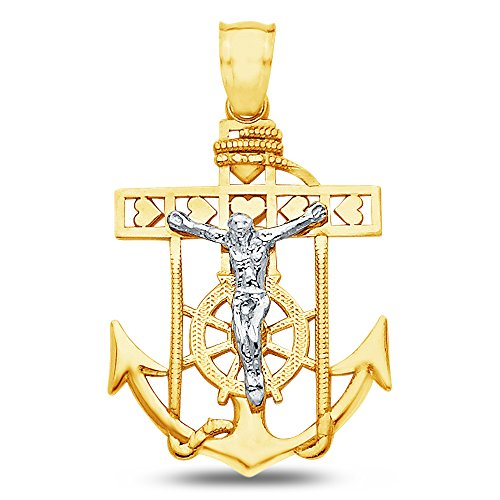 Jewel Tie Solid 14K Two Tone Yellow and White Gold Ornate Mariner Anchor Catholic Crucifix Cross Pendant Charm with Heart Accent 26x18 mm