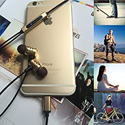 Pure Lightning iPhone Headphones, Superior 24-bit Digital Audio with Noise Suppression Silicone Earbuds for iPhone 7, iPad, iPod Apple MFI Approved Digital 8-pin Connector + FREE Case, GOLD