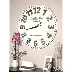 BrandtWorks, LLC AZ-30WHBKPAR Farmhouse Wall Clock, 30 x 30, White/Black