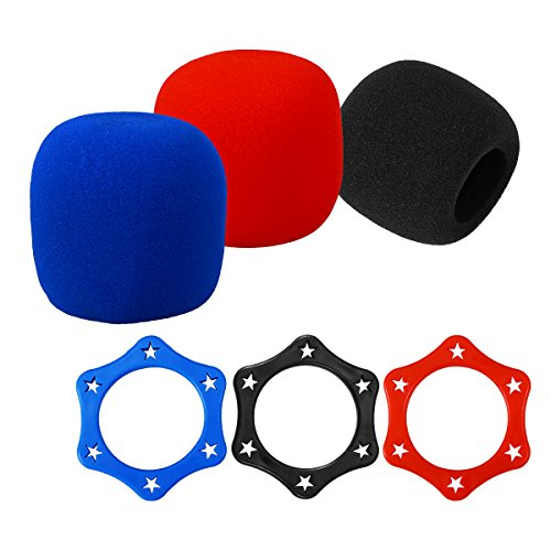ROSENICE Hexagon Anti-rolling Mic Protection Rings And 3 Pcs Replacement Headset Microphone Cushion Pads Windscreen Foam Cover 3 Pcs (Mic Accessories Windscreens)