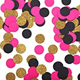 Fonder Mols Glitter Confetti Circles Black and Pink Wedding Table Decoration Party Table Confetti Bridal Shower Engagement party hen party decor Table Scatter Valentines Day Baby Shower 200pcs per Bag