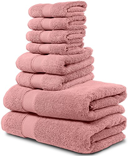 8 Piece Bath Towel Set. 2017(New Collection). 2 Bath Towels, 2 Hand Towels, 4 Washcloths. Premium Quality Turkish Towels. Super Soft, Plush and Highly Absorbent. (Towel Set - Set of 8, Rose Gold)