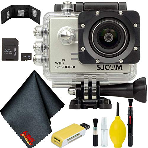 SJCAM SJ5000X Elite 4K Action Camera (Silver) Bundle w/ 32GB Memory Card + Accessories