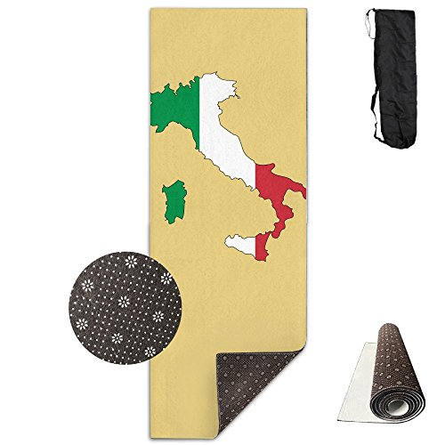 Jessent Yoga Mat Non Slip Italy Flag Map Printed 24 X 71 Inches Premium For Fitness Exercise Pilates With Carrying Strap by Jessent