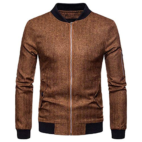 Abetteric Men Plus-Size Side Zip Long Sleeve Banded Collar Jacket Casual Wear Brown XS