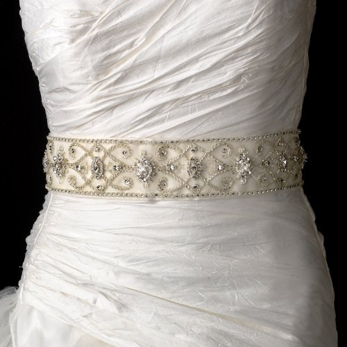 Vintage Beaded Wedding Sash Bridal Belt in White or Ivory by Elegant Bridal Shop