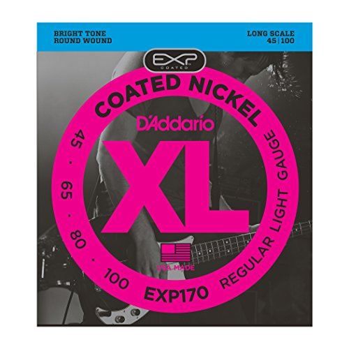 D'Addario EXP170 Coated Bass Guitar Strings, Light, 45-100, Long Scale from D'Addario