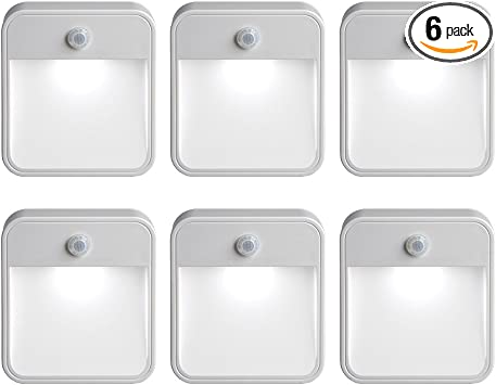 6-Pack Mr Beams Mini LED Night Light Motion Activated Auto-Off Stick-On White