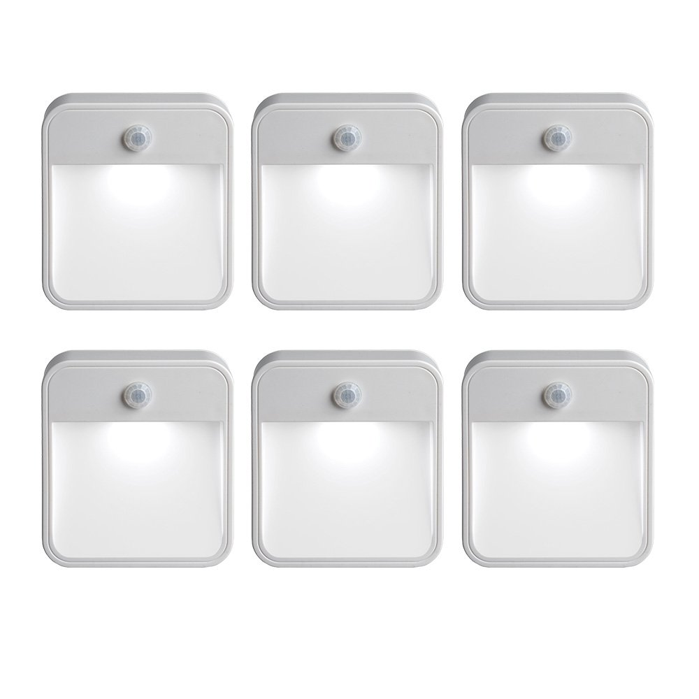Mr Beams MB726 Stick Anywhere Battery-Powered Wireless Motion Sensor LED Night Light, White, Set of 6