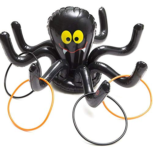 RALMALL Inflatable Ring Toss Games Spider Halloween Party Game Outdoor Birthday Carnival Games Party Supplies with 4 Rings for Kid