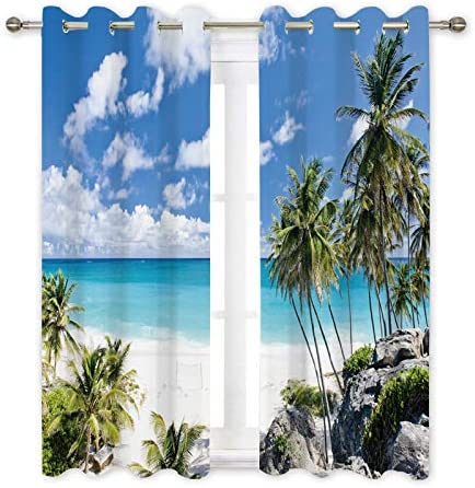 Ormis Blackout Curtains Light Blocking Draperies The Beautiful White Beach