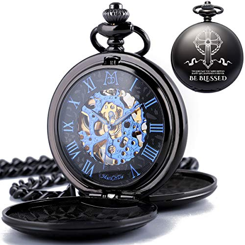 ManChDa Mens Women Mechanical Engraved Pocket Watches Automatic Double Cover Roman Numerals Dial Skeleton Personalized Gift for Husband Lover Be Blessed Valentines Day Gfit Easter Day Gift