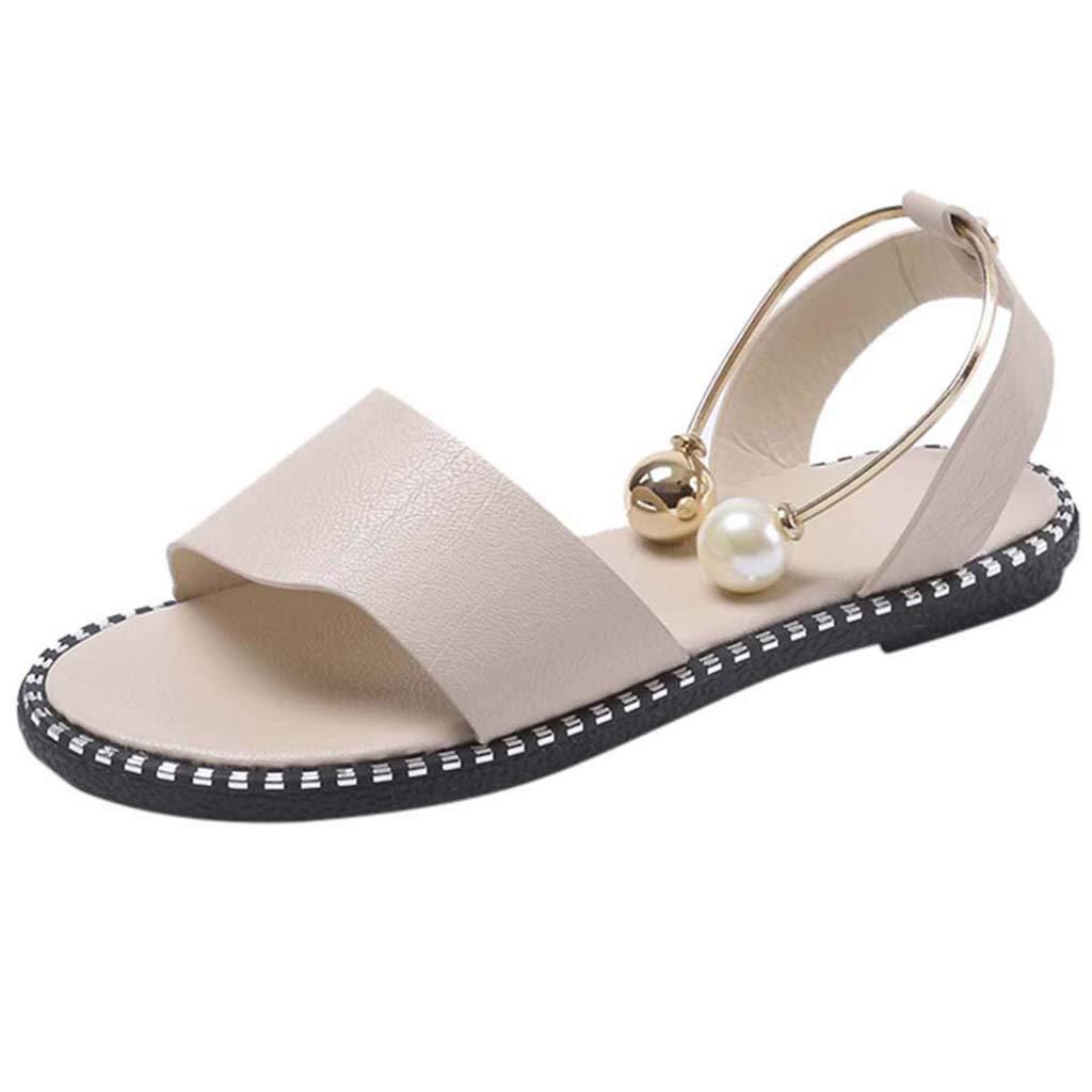 Femme Chaussures,Femmes Dames De Mode Solide Bout Rond Perle Boucle Causal Sandales Chaussures,Escarpins