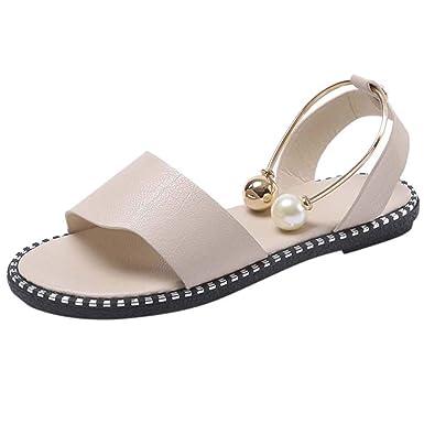POLP Sandalias Planos Mujer Verano 2019,Sandalias de Vestir de Moda, Zapatillas de Estar por casa Suave y cómodo,Sandalias de Danza Negro Beige Blanco 35-39: ...