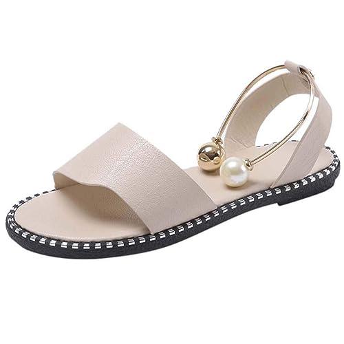 Internet_Zapatos de Mujer, Peep Toe Cabeza Redonda Plana Zapatos Casuales con Perlas de Color sólido