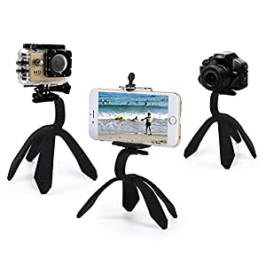 MEIBEI Flexible Action Camera Tripod - Portable Smartphone Mount,iPhone Stand can be Set, Wrapped, Hung and Clung Anywhere - 2 Adapters,one for GoPro and Sport Camera,one for Smartphones (Black)