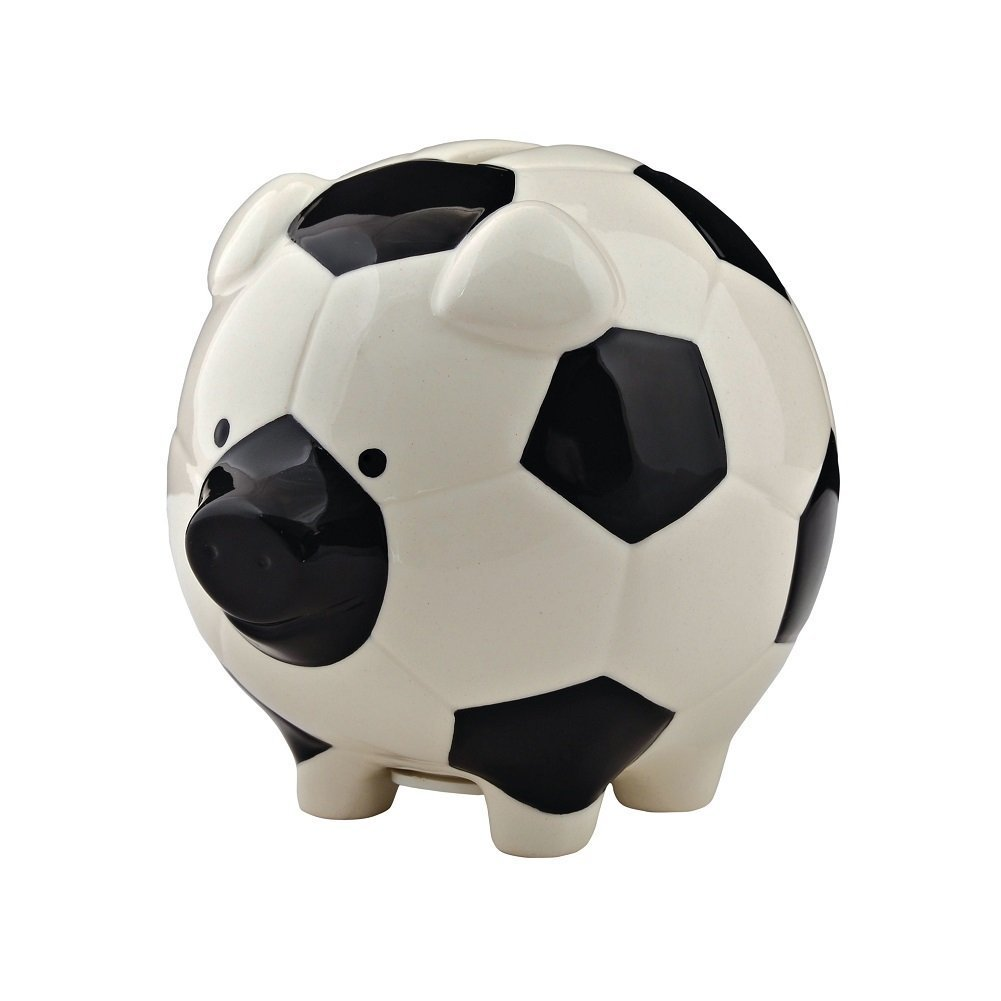 Enesco Soccer Piggy Bank, Ceramic, 4.25 inches, Black and White