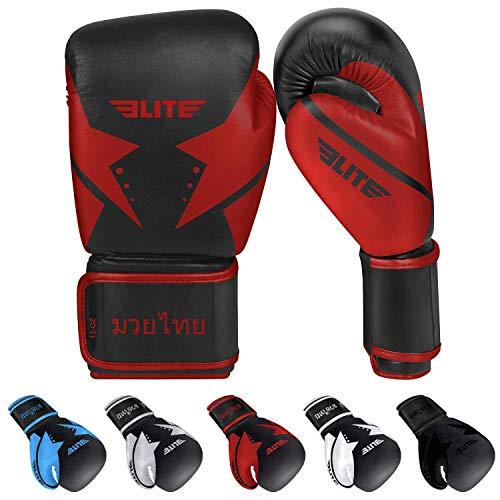Elite Sports 2021 Muay Thai Gloves, Men's, Women's Best Kickboxing Pair of Breathable Gloves
