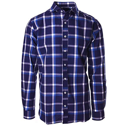 (Haspel Seersucker Long Sleeve Shirt - Carroll Navy and White Plaid)
