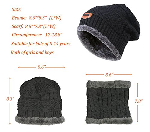 Winter Beanie Scarf for Boys Girls (5-14 Years) Warm Snow Knit Hats Windproof HINDAWI Circle Scarf Kids Slouchy Skull Cap Grey by HindaWi (Image #5)