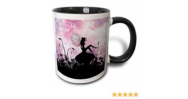Amazon Com 3drose Sitting On A Mushroom A Pink Black Fairy Silhouette Two Tone Mug 11 Oz Kitchen Dining