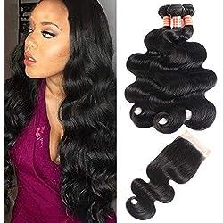"Simei 8A Brazilian Virgin Body Wave Hair 3 Bundles with Closure 100% Unprocessed Brazilian Body Wave Human Hair With Free Part Lace Closure Brazilian Body Wave Hair Extensions(16 18 20+14"" Free Part)"