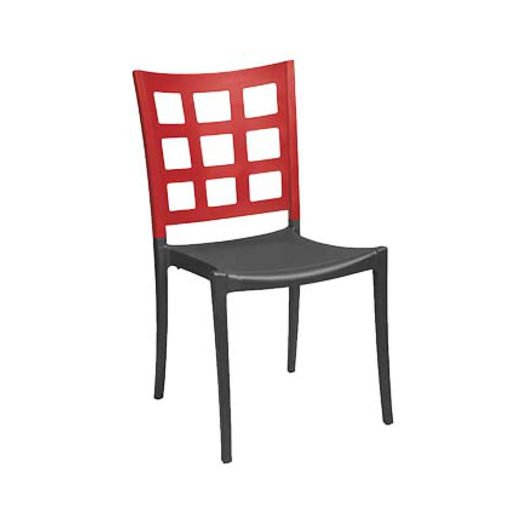 Grosfillex US648202 Plazza Stacking Side Chair, Apple Red with Charcoal Seat (Case of 16)