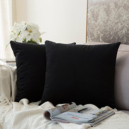 MIULEE Pack of 2, Velvet Soft Soild Decorative Square Throw Pillow Covers Set Cushion Cases Pillowcases for Sofa Bedroom Car18 x 18 Inch 45 x 45 cm (Black Throw Pillow Decorative)